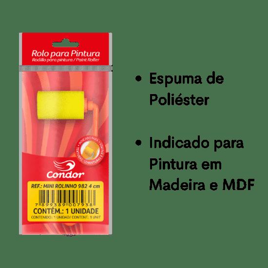 Mini-Rolinho-de-Espuma-Poliester-Lisa-Condor-982-4cm-com-Cabo-Curto