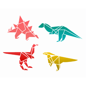 Stencil-Opa-20x25-3121-Infantil-Dinossauro-Origami