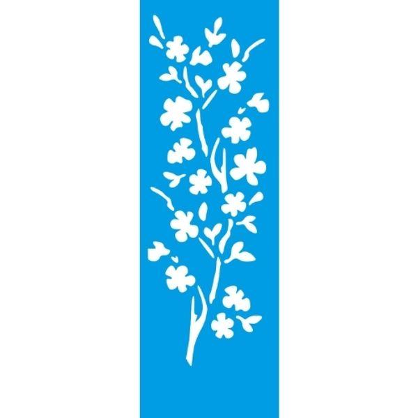 Stencil-Litocart-10x30cm-LSBC-040-Ramo-de-Flor-Cerejeira