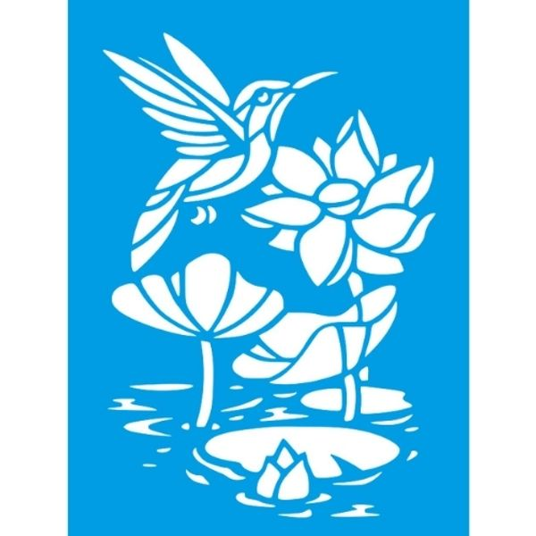 Stencil-Litocart-20x15cm-LSM-295-Flor-de-Lotus-e-Beija-Flor