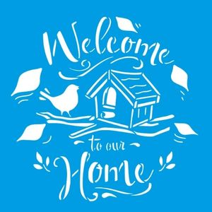 Stencil-Litocart-20x20cm-LSQ-241-Helcome-To-Our-Home