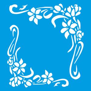 Stencil-Litocart-20x20cm-LSQ-236-Cantoneira-Flor