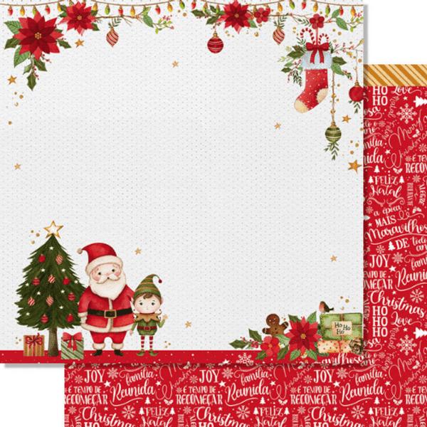 Papel-Scrapbook-Natal-Litoarte-305x305cm-SDN-150-Papai-Noel-e-Gnomo