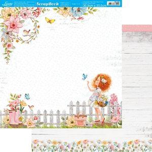 Papel-Scrapbook-Litoarte-305x305cm-SD-1204-Floresca-Menina-no-Jardim