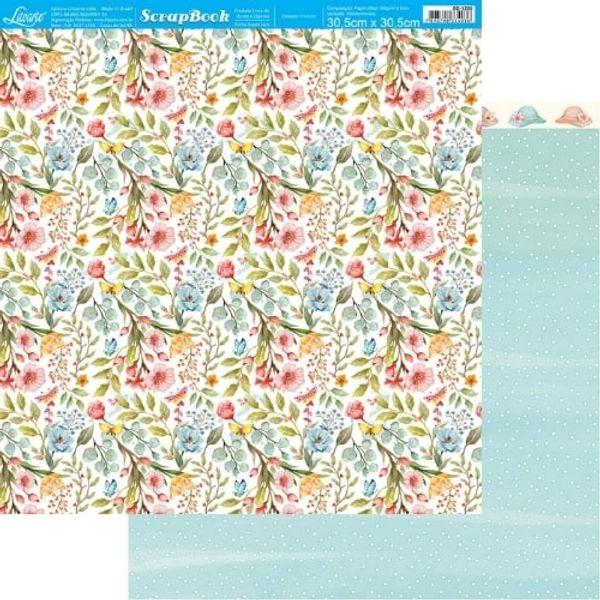 Papel-Scrapbook-Litoarte-305x305cm-SD-1205-Floresca-Flores-e-Poa