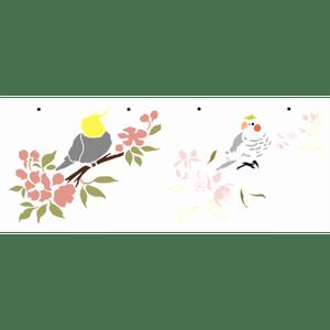 Wall-Stencil-OPA-17x42-3158-Animais-Calopsita-com-Cerejeiras